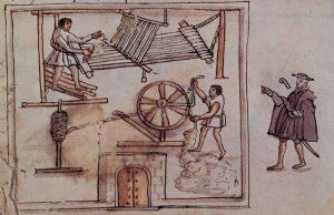 Indios trabajando en un taller textil para un encomendero. Códice Osuna, México siglo XVI