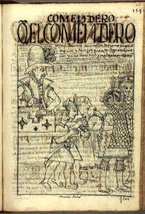 """""""Que el encomendero se hace llevar en unas andas como Ynga con taquiles (cantos) y danzas cuando llega a sus pueblos. Y si no, le castiga y maltrata en este Reino"""". Grabado de Guamán Poma de Ayála (1535?-1615?)"""