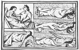 Lámina del códice florentino (México, 1540-1585) en la que se ve a unos indígenas enfermos de viruela.