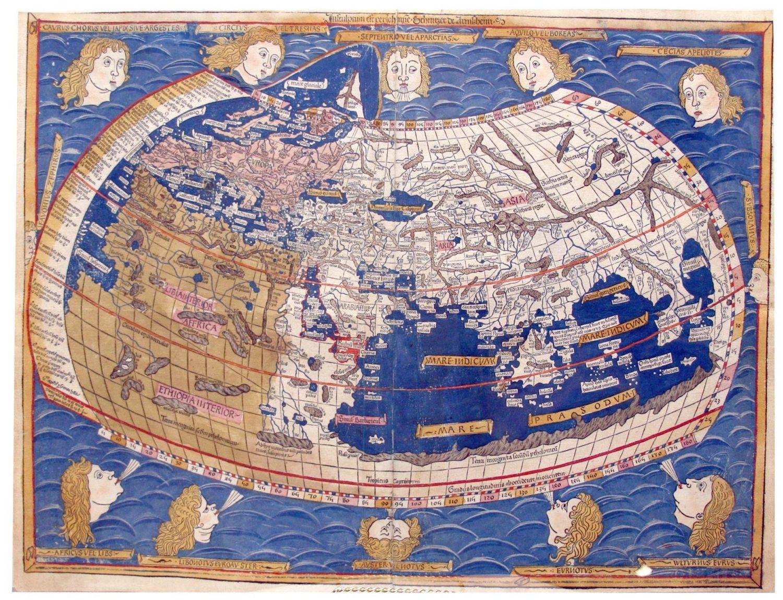 Mapa de Ptolomeo de como se veía el mundo antes de 1492