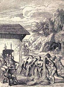 Ilustración del siglo XVII del trabajo esclavo indígena y negro en una mina de La Española (actuales Haití y República Dominicana