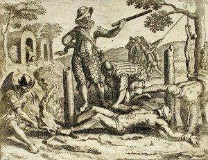 """""""Danle el tormento del trato de cuerda, échanle sebo ardiendo en la barriga, pónenle a cada pie una herradura hincada en un palo y el pescuezo atado a otro palo y os hombres que le tenías las manos, yasí le pegaban fuego a los pies y entraba el tirano de rato en rato y le decía que así lo había de matar poco a poco a tormentos si no le daba el oro"""" (Bogotá). Bartolomé de las Casas, Grabados de Théodore de Bry."""