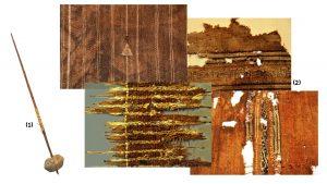 (1) Huso de hilar y (2) fragmentos de mantas. Fotografía Fernando Ladino - Museo Casa Bolivar