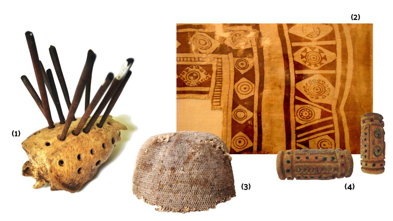 (1) Agujas, (2) fragmentos de manta pintada, (3) gorro, (4) rodillos de cerámica para estampar. Fotografías: Fernando Ladino, Museo Casa de Bolivar