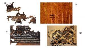 (1, 2, 3) fragmentos de mantas, (4) mochila. Fotografías: Fernando Ladino, Museo Casa de Bolivar
