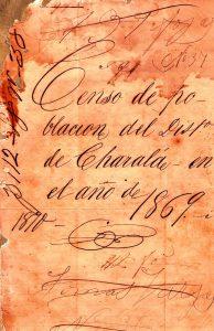 Carátula del censo de población de Charalá y una página del mismo. Se puede observar la gran cantidad de artesanos entre los censados de esta página.